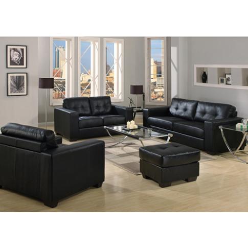 Gemona Black Leather 3 Seater Sofa