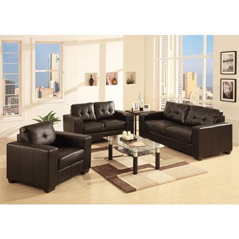 Barletto 3+2 Black Leather Sofa Set