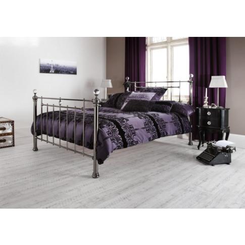 Serene Clara 4ft Small Double Black Nickel Metal Bed