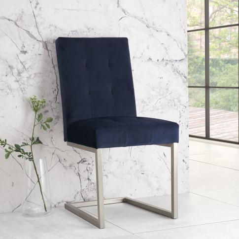 Bentley Designs Tivoli Dark Blue Velvet Dining Chair