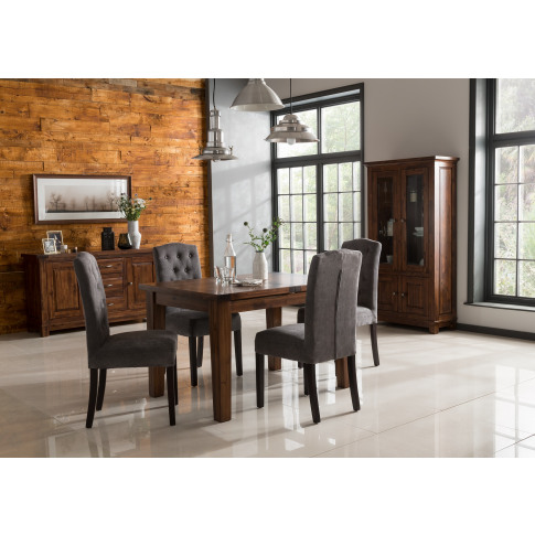 Emerson 160cm Extending Dining Table + 6 Slatted Bac...