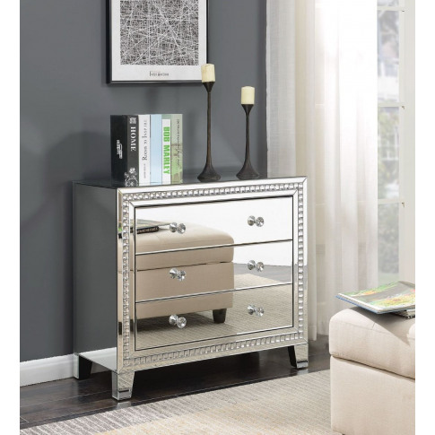 Loughton Silver Mirrored 3 Drawer Chest