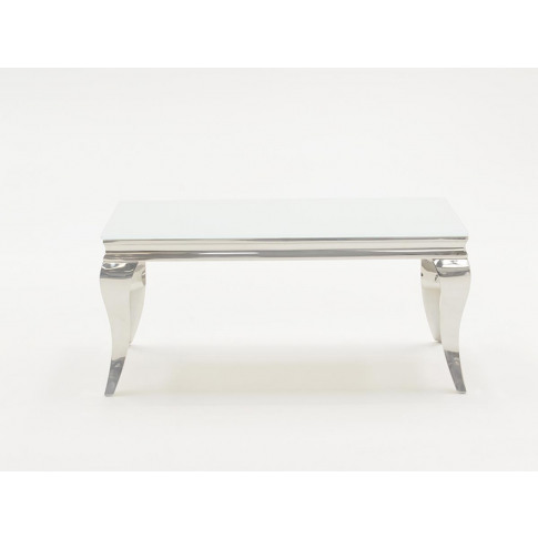 Louis 110cm White Tempered Glass Coffee Table