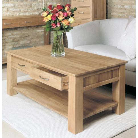 Baumhaus Mobel Oak Four Drawer Coffee Table