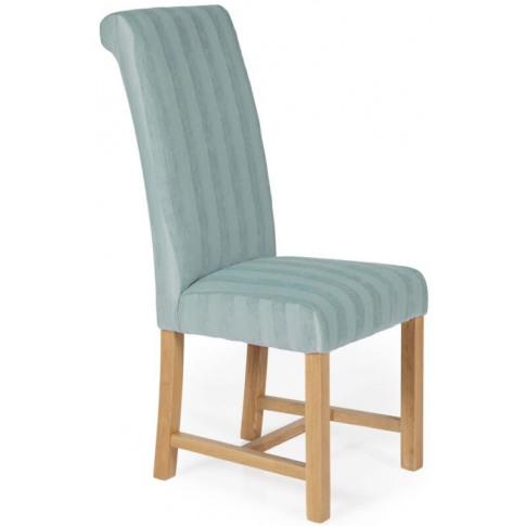 Serene Greenwich Duck Egg Stripe Fabric Dining Chair...