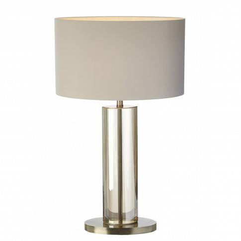 Rv Astley Lisle Cognac Crystal And Antique Brass Table Lamp