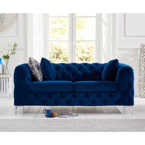 Alegra Blue Plush Fabric 2 Seater Sofa