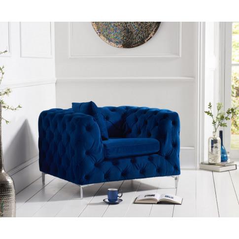 Alegra Blue Plush Fabric Armchair