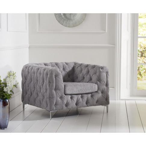 Alegra Grey Plush Fabric Armchair