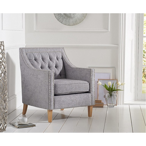 Casa Bella Chesterfield Grey Plush Fabric Armchair
