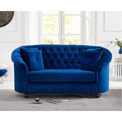 Casey Chesterfield Blue Plush 2 Seater Fabric Sofa
