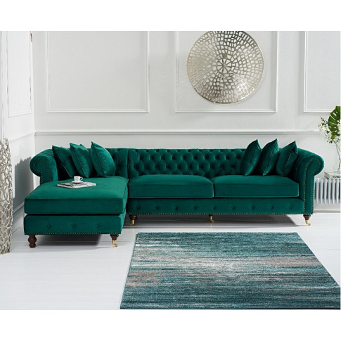 Fiona Green Velvet Lhf Chesterfield Corner Chaise Sofa