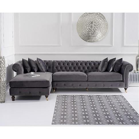 Fiona Grey Velvet Lhf Chesterfield Corner Chaise Sofa
