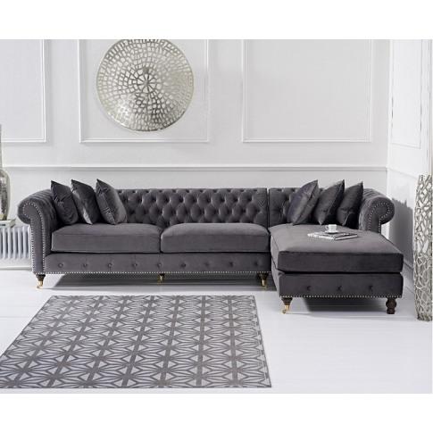 Fiona Grey Velvet Rhf Chesterfield Corner Chaise Sofa