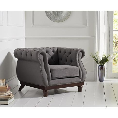 Highgrove Chesterfield Grey Linen Fabric Armchair