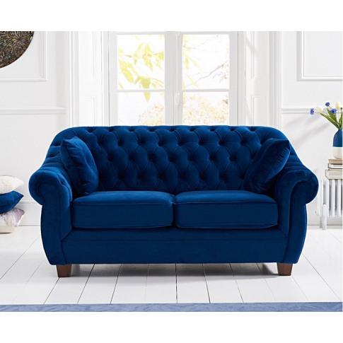 Liv Chesterfield Plush Blue 2 Seater Fabric Sofa