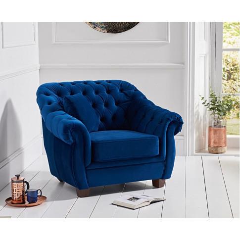 Liv Chesterfield Plush Blue Fabric Armchair