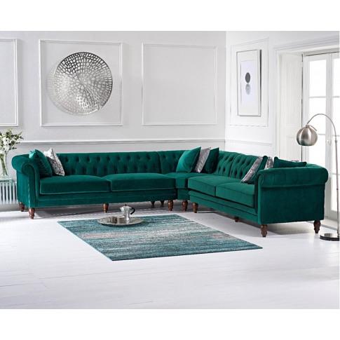 Lauren Green Velvet 2 Seater Corner Sofa