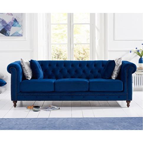 Montrose Blue Plush Fabric 3 Seater Sofa