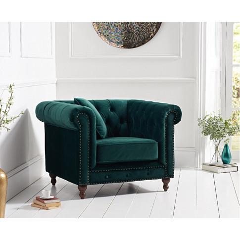 Montrose Green Plush Fabric Armchair