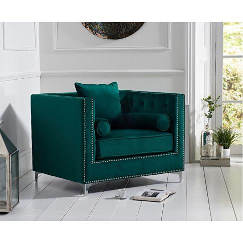 New England Green Velvet Armchair
