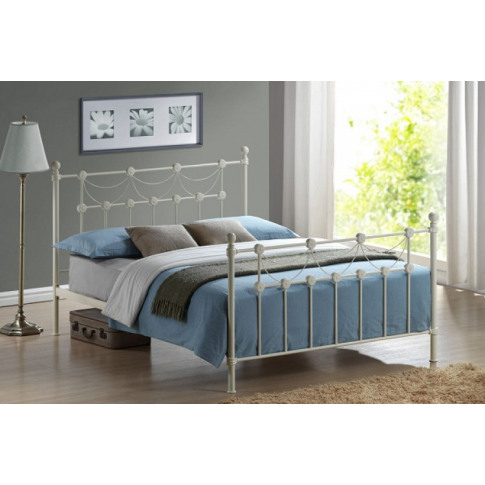 Omero 4ft6 Double Ivory Metal Bed