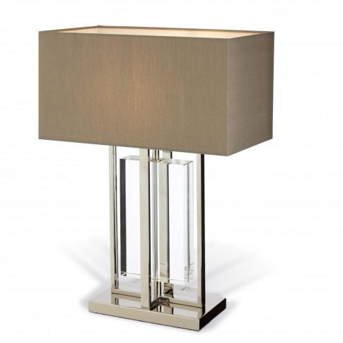 Rv Astley Sarre Nickel And Crystal Table Lamp