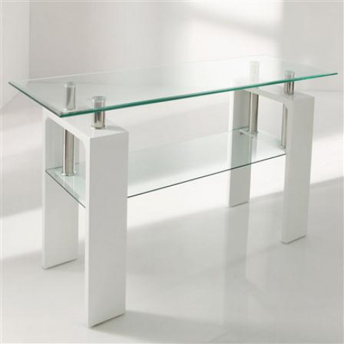 Calico White Glass Console Table