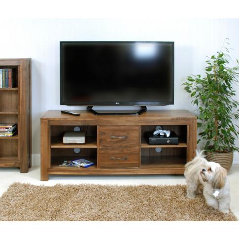 Baumhaus Mayan Walnut Low Widescreen Television Cabinet