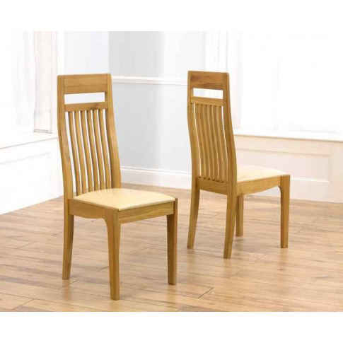 Monte Carlo Solid Oak Dining Chair With Cream Leathe...