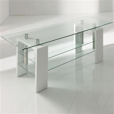 Calico White Glass Tv Stand