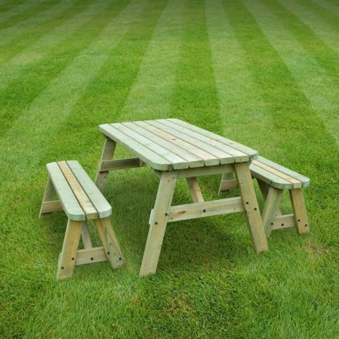 Rutland Oakham 4ft Light Green Picnic Table And Benc...