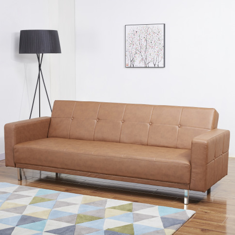 Lux 3 Seater Vintage Brown Leather Sofa Bed