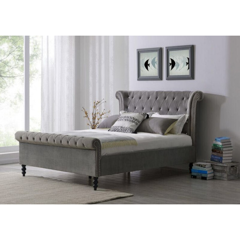 Ariel Silver Fabric 4ft6 Double Bed