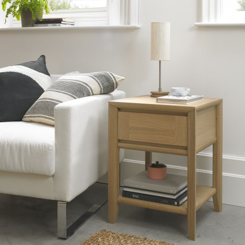 Bentley Designs Bergen Oak Lamp Table With Drawer