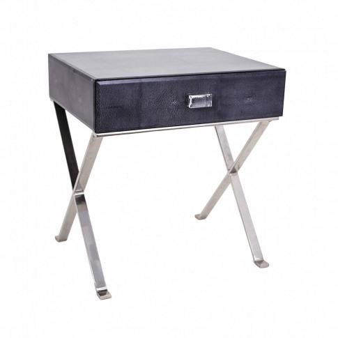 Rv Astley Sienna Dark Grey Shagreen Side Table