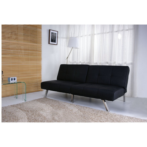 Royale Black Faux Leather Foldable Futon Sofa Bed