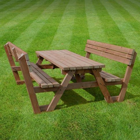 Rutland Lyddington 4ft Rustic Brown Picnic Bench