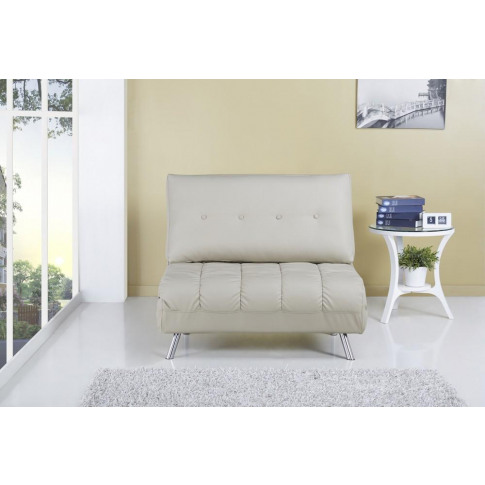 Romeo S Luxury Cream Faux Leather Sofa Bed