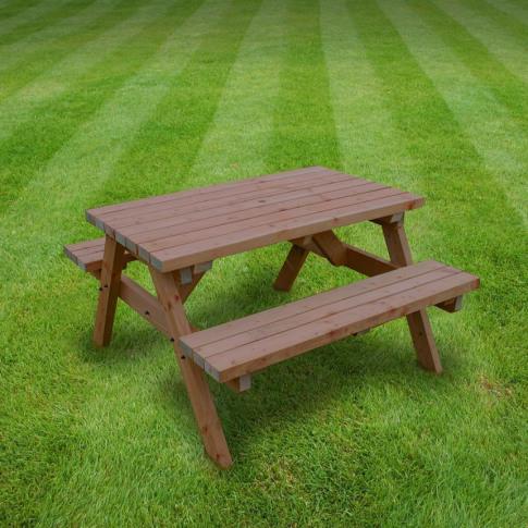 Rutland Oakham 4ft Rustic Brown Picnic Bench