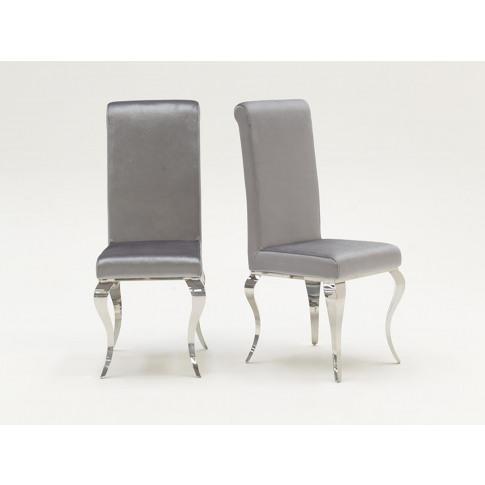 Louis Silver Velvet Dining Chair