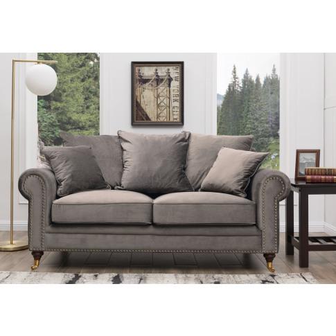 Hampton Grey Velvet 2 Seater Sofa
