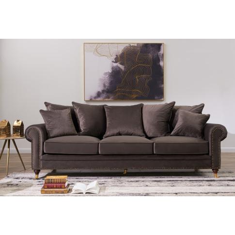 Hampton Mink Velvet 3 Seater Sofa