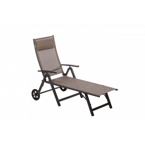 Royalcraft Sorrento Taupe Folding Sun Lounger with W...