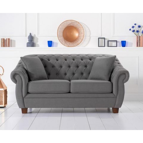 Liv Grey 2 Seater Chesterfield Fabric Sofa
