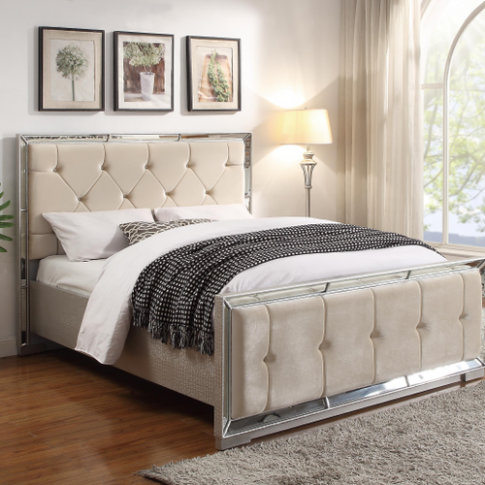 Sofia Cream Fabric 4ft6 Double Bed