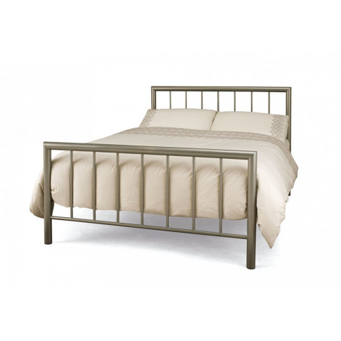Serene Modena 4ft Small Double Champagne Metal Bed