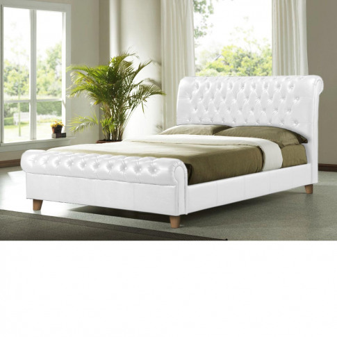Richmond 6ft Super King Size White Leather Bed