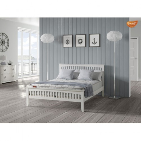 Sareer Sandhurst White 5ft Kingsize Wooden Bed