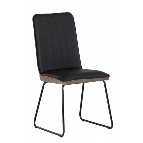 Cadiz Black Pu Leather With Taupe Velvet Dining Chair